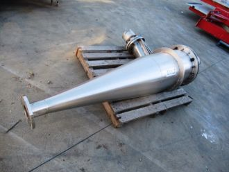 Stainless Steel Cyclone, 400mm Dia x 600mm H Straight + 1050mm H Cone